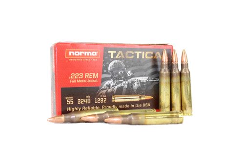 Norma USA .223 Remington Tactical Ammo 55 Grain Full Metal Jacket BOX OF 1,000 ROUNDS