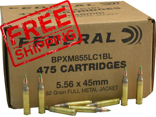 Federal American Eagle 5.56 NATO Ammunition (CASE) 950 Rounds FMJBT GREEN TIP 62 Grains