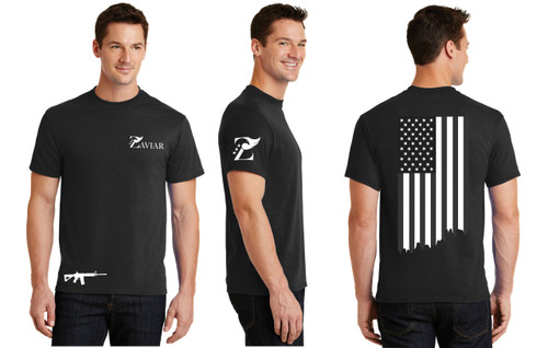 ZAVIAR Black American Flag Shirt