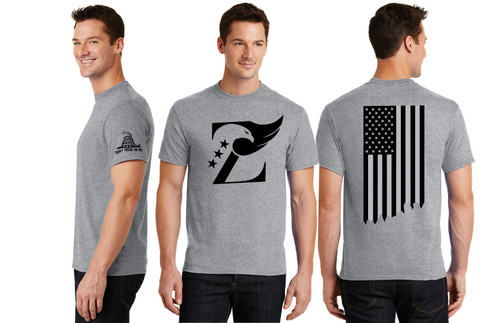 ZAVIAR Grey American Flag Shirt