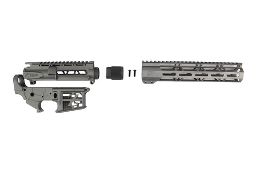 "TUNGSTEN GREY SKELETONIZED CERAKOTE SET - SKELETONIZED UPPER RECEIVER / SKELETONIZED STRIPPED LOWER RECEIVER / 10"" MLOK HANDGUARD"