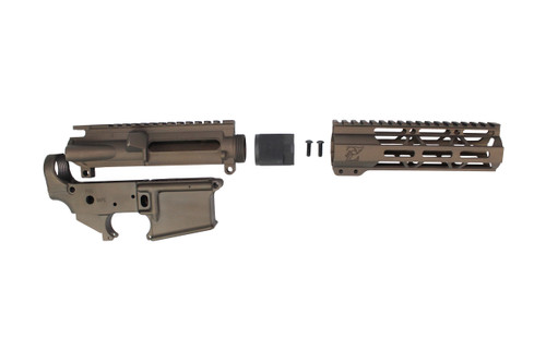 "Zaviar Midnight Bronze CERAKOTED AR15 Stripped Lower Receiver/ Upper Receiver/ 7"" MLOK Free-Float Handguard AR-15"