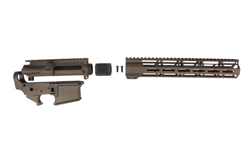 "Zaviar Midnight Bronze CERAKOTED AR15 Stripped Lower Receiver/ Upper Receiver/ 12"" MLOK Free-Float Handguard AR-15"