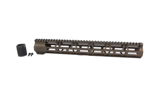 "ZAVIAR MIDNIGHT BRONZE CERAKOTED 15"" MLOK Free-Float Handguard AR-15"