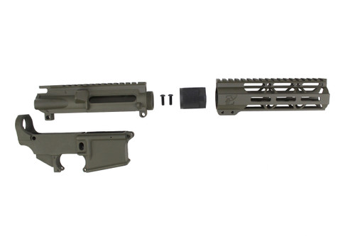 "MAGPUL OD GREEN CERAKOTE SET - UPPER RECEIVER / 80% LOWER RECEIVER / 7"" MLOK HANDGUARD"