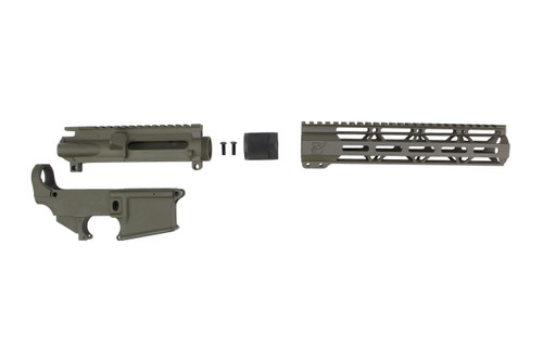 "MAGPUL OD GREEN CERAKOTE SET - UPPER RECEIVER / 80% LOWER RECEIVER / 10"" MLOK HANDGUARD"