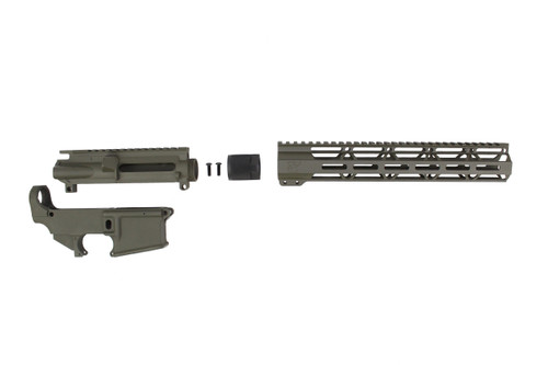 "MAGPUL OD GREEN CERAKOTE SET - UPPER RECEIVER / 80% LOWER RECEIVER / 12"" MLOK HANDGUARD"