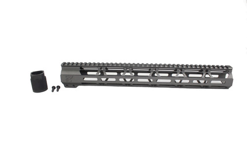 "ZAVIAR TUNGSTEN GREY CERAKOTED 15"" MLOK Free-Float Handguard AR-15"