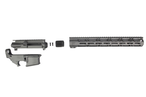 "TUNGSTEN GREY CERAKOTE SET - UPPER RECEIVER / 80% LOWER RECEIVER / 15"" MLOK HANDGUARD"