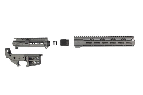 "TUNGSTEN GREY SKELETONIZED CERAKOTE SET - STRIPPED UPPER / LOWER RECEIVER / 12"" MLOK HANDGUARD"