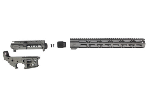 "TUNGSTEN GREY SKELETONIZED CERAKOTE SET - STRIPPED UPPER / LOWER RECEIVER / 15"" MLOK HANDGUARD"