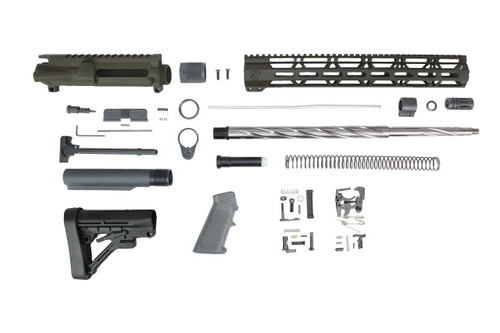 "ZAVIAR (MAGPUL OD GREEN) 20"" 5.56 NATO SPIRAL FLUTED 5R STAINLESS STEEL BUILDER KIT / 1:8 TWIST / PREDATOR STOCK / 15"" MLOK HANDGUARD"