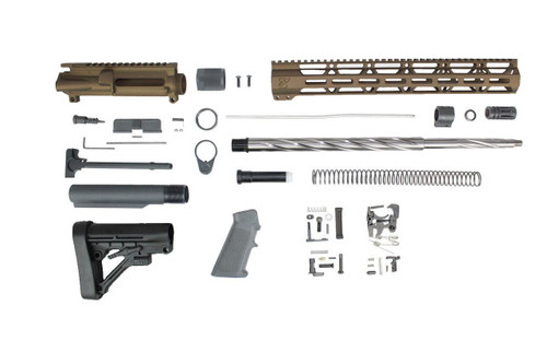 "ZAVIAR (BURNT BRONZE) 20"" 5.56 NATO SPIRAL FLUTED 5R STAINLESS STEEL BUILDER KIT / 1:8 TWIST / PREDATOR STOCK / 15"" MLOK HANDGUARD"