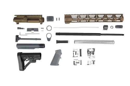 "Zaviar (BURNT BRONZE) 6.5 Grendel SA16 'Grendel' Series 20"" HBAR 1:8 Nitride Rifle Builder Kit with Predator Stock Kit 15"" MLOK Handguard"