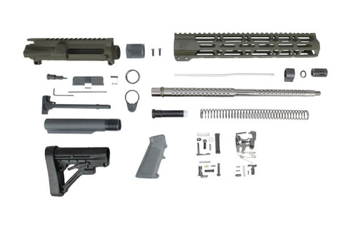 "ZAVIAR (MAGPUL OD GREEN) 16"" .223 WYLDE STAINLESS STEEL GOLFBALL FLUTED BUILDER KIT / 1:9 TWIST / 12"" MLOK HANDGUARD"