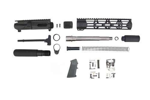 "40 S&W 7.5"" - 8.5"" Overall Stainless Steel Builder Kit / 1:12 Twist / 10"" MLOK Handguard"