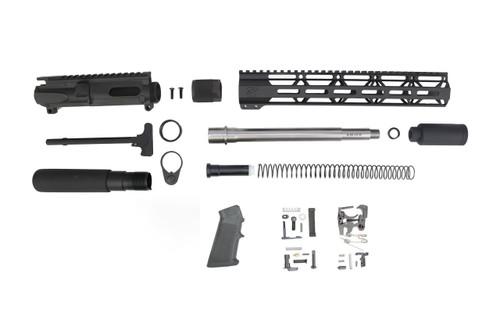 "40 S&W 9.5"" - 10.5"" Overall Stainless Steel Builder Kit / 1:12 Twist / 12"" MLOK Handguard"