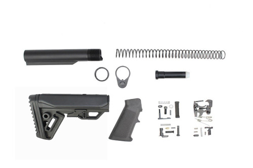 Zaviar Cobra Buttstock Lower Build Kit / Lower Parts Kit - .223/5.56 Black Trigger and Hammer