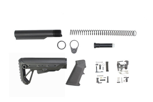 Zaviar Surge Buttstock Lower Build Kit / Lower Parts Kit - .223/5.56 Black Trigger and Hammer