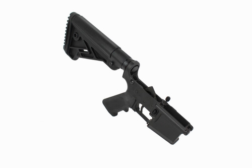 AR-15 Black Cerakote Complete Lower Receiver with Bravo Stock