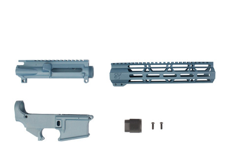 "AR-15 Titanium Blue Cerakoted 80% Lower Receiver / Upper Receiver / 10"" MLOK Handguard"