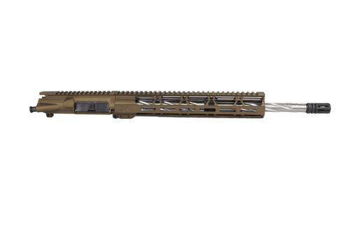 ".223 Wylde 'Operator Series' Burnt Bronze 16"" Spiral Fluted Stainless Steel Upper Receiver / 1:8 Twist / 12"" MLOK Handguard"