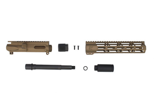 "9mm 'Stinger Series' Burnt Bronze 7.5""- 8.5"" Overall Nitride Upper Kit / 1:10 Twist / 10"" MLOK Handguard"