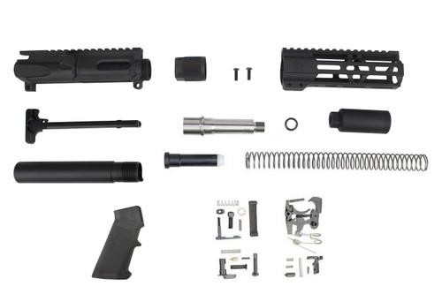 """9mm 'Stinger Series' 3.5"""" - 4.5"""" Overall Stainless Steel Builder Kit / 1:10 Twist / 6.5"""" MLOK Handguard"""