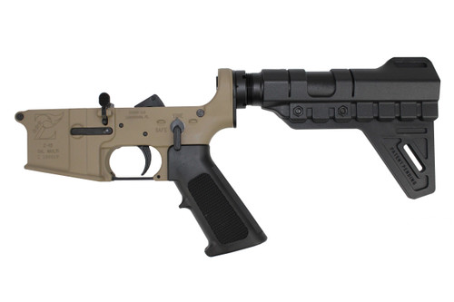 AR-15 Magpul FDE Cerakote Complete Lower Receiver with Trinity Brace