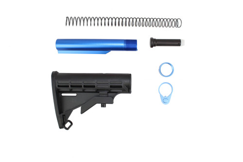 Zaviar M4 Mil-Spec AR15 Military Style Buttstock Kit with Blue Tube