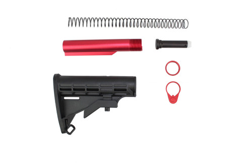 Zaviar M4 Mil-Spec AR15 Military Style Buttstock Kit with Red Tube