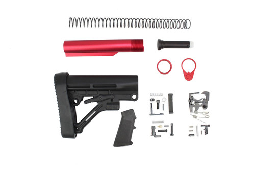 Predator Buttstock Lower Build Kit with Red Tube and Lower Parts Kit