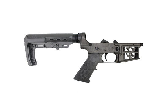 ZAVIAR AR-15 Black  Complete Skeletonized Lower Receiver w/ Loki Stock