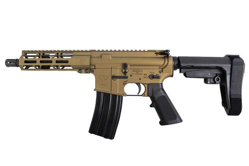 "Zaviar Firearms 5.56 Nato 'Operator Series' 7.5"" Nitride Complete Pistol / 1:7 Twist / 7"" MLOK Handguard / SBA3 / Burnt Bronze (Z70704)"