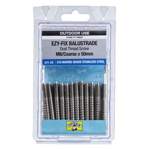 Otter Ezy-Fix Balustrade Dual Thread Screw 50mm 24 Pack