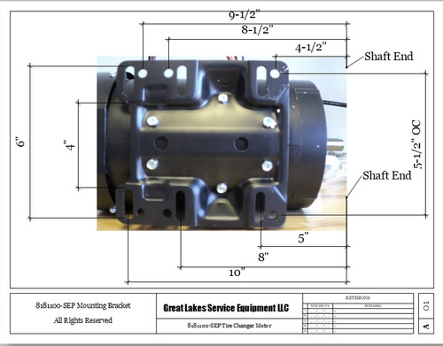 Mounting Bracket Dimensions for 8181100-SEP Motor