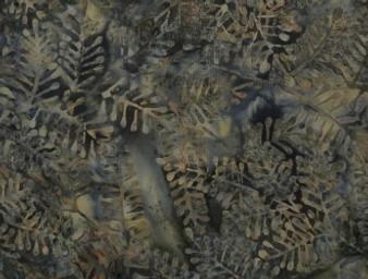 "2363-146, Hoffman Stone Green Bali Handpaints Leaf Pattern On Olive Green Background, 100% Cotton, 42"" wide"