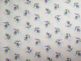 English Teatime for Fabric Freedom,  F900-3, beige background with tiny purple flowers, 100% premium cotton, price/meter