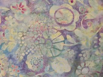 "Bali Handpaints by Hoffman, 2576-505, Beautiful light violet background with vanilla  allover flower design, 100% premium cotton, 42"" wide"