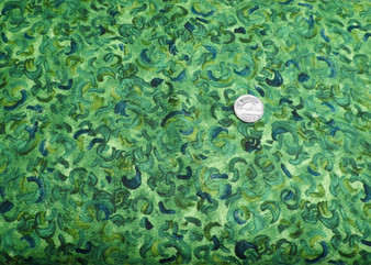"""AVG 15102-44 Forest, Vincent Van Gogh for Robert Kaufman, green background fabric with darker green, blue and light black swirls. Perfect for leaves. 100% good quality cotton, 42"""" wide."""