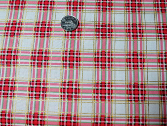 "Plaid CM5186, White  background with red metallic plaid design, beautiful for borders, 100% quality cotton, 42"" wide,"