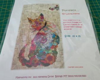 Purrfect, cat collage pattern by Laura Heine