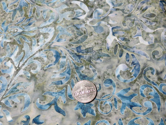 """Grey Batik, grey background with blue and grey scroll design all over, 100% premium quilt cotton, 42"""" wide Misc 8"""