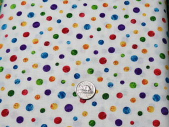 "7674 Colour X, The Very Hungry Caterpillar for Andover Fabrics, white background with multi colour circles, 100% premium quality quilt cotton, 42"" wide"