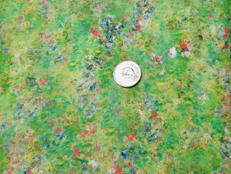 """Renoir 17880 238 garden,  Green background fabric with speckled multi coloured all over design, 100% premium quilt cotton, 42"""" wide"""