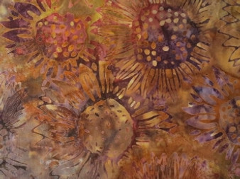 "9378-171 Cornucopia 4 By Robert Kaufman Batik Yellow Sunflower Design 100% cotton, 42"" wide"