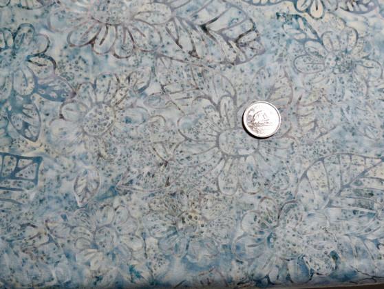 "JNH 248, Batik, light grey, blue background with daisy like flower and leaf design in darker outline. 100% good quality cotton, 42"" wide"