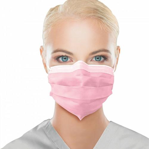 Premium Medical Grade ASTM 3 PInk Ear Loop Masks 50/PK By Unipack Medical