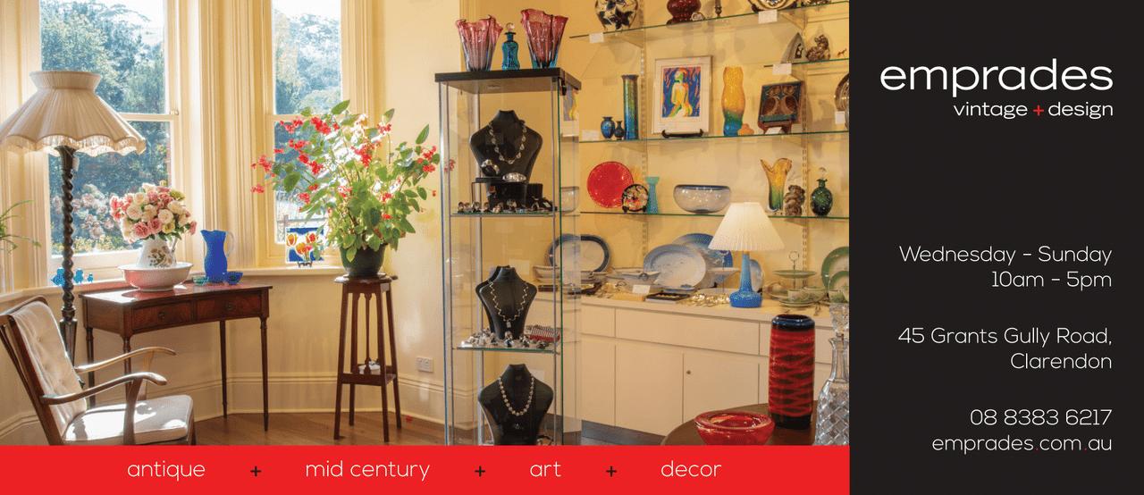 Inside Emprades vintage + design showing vintage ceramics, glassware, jewellery and furniture