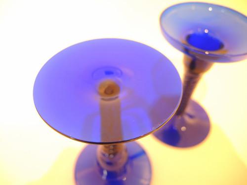 Vintage Cobalt Blue Kastrup Holmegaard Amager Twist Candlesticks